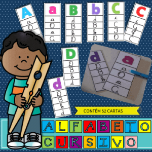 Kit de Leitura Alfabeto Cursivo | Atividade de Alfabetização