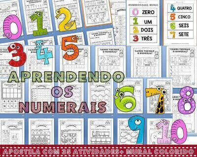 Apostila de Matemática com 35 Atividades para Trabalhar os Numerais de 1 a 10 .