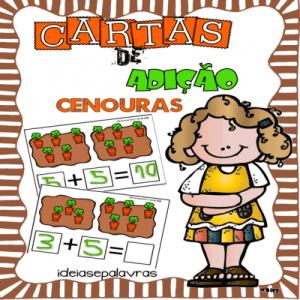 Cartas de Adição Cenouras | Jogo Pedagógico | Atividades de Alfabetização Matemática