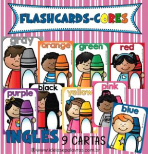 Cores Inglês Flashcards | Jogo Pedagógico | Atividade para Alfabetização Cores