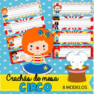 crachás de mesa circo | educação infantil
