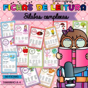 Fichas de Leitura | 30 Silabas Complexas A4 | Atividades de Alfabetização