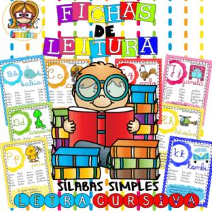 Fichas de Leitura Cursiva Silabas Simples | Atividade de Alfabetização