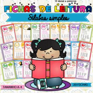 Fichas de Leitura | 20 Sílabas Simples A4 | Atividades de alfabetização