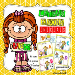Letra e Sons Iniciais  Jogo Pedagógico com 26 Pranchas + 78 cartas