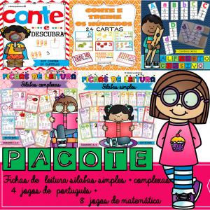 pacote 12 jogos + fichas de leitura sílabas simples e sílabas complexas