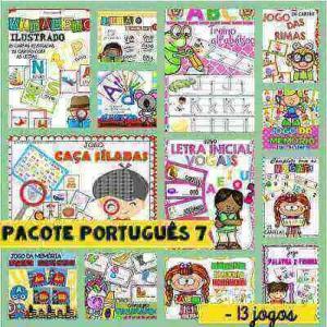 Pacote Português 7 | 13 Jogos Pedagógicos p/ Atividades de Alfabetização