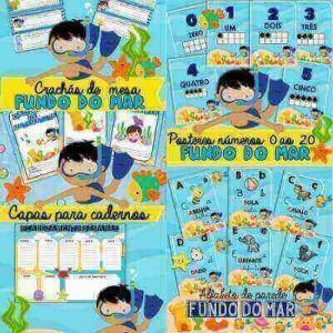 Pacote Fundo do Mar | Pôsteres Alfabeto e Números 0 ao 20 - Capa de Caderno - Crachás