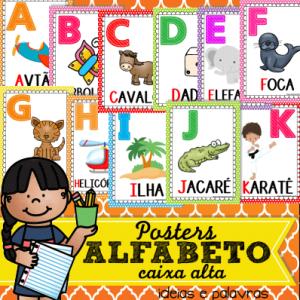 Poster Alfabeto Letra Caixa Alta   Atividade de Alfabetização para enfeitar a sala de aula