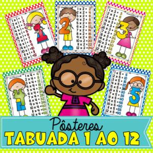 Tabuada de Parede com 12 Pôsters + 12 Cards | Alfabetização Infantil