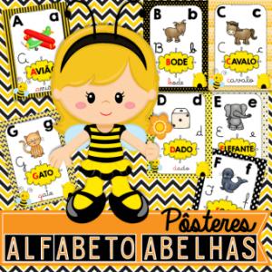 Alfabeto de Parede Tema Abelhas | Pôster para sala de aula