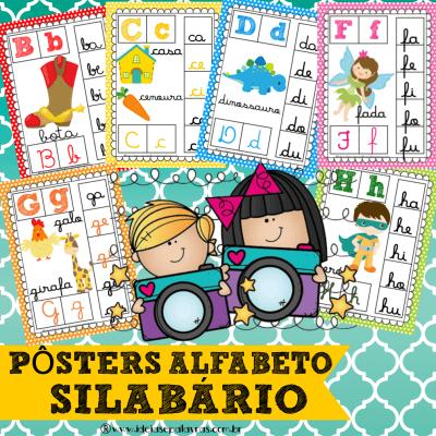 pôsteres alfabeto silabário | atividade de alfabetização | www.ideiasepalavras.com.br