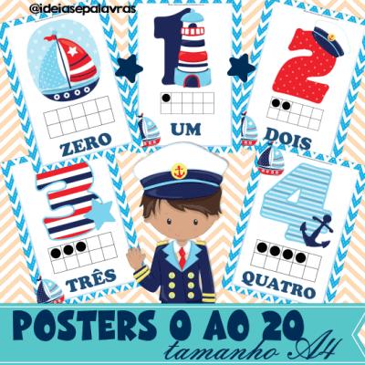 Posters 0 ao 20 Náutica | Alfabetização Matemática