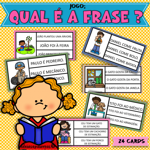 Qual é a frase Jogo Pedagógico com 24 Cartas para Alfabetização e Letramento