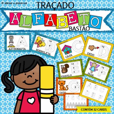 Traçado Alfabeto Bastão | Jogo Pedagógico para Alfabetização