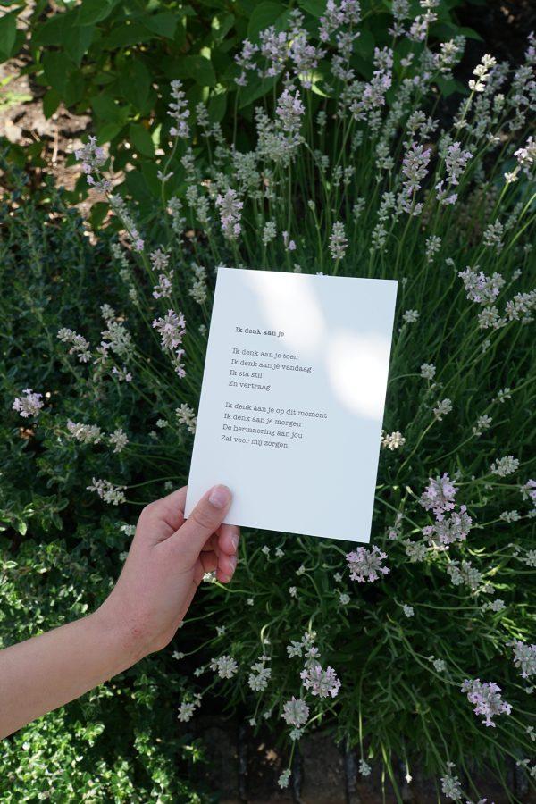 kaart gedicht ik denk aan je
