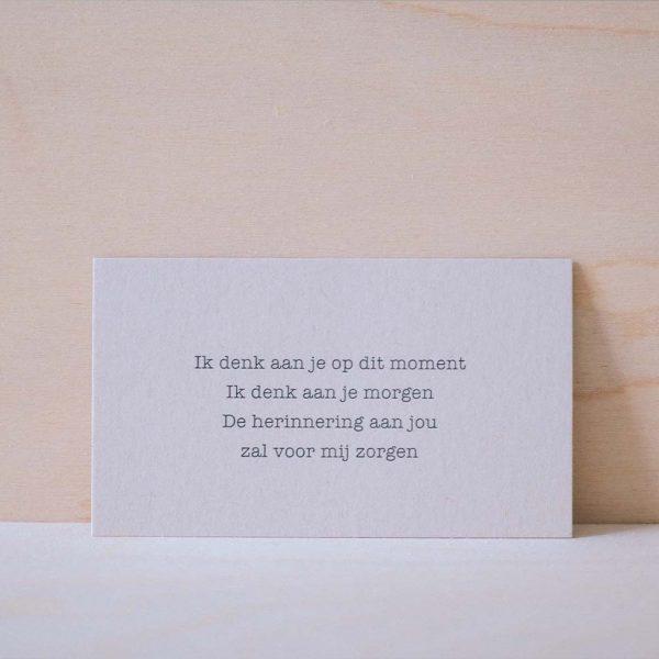 mini kaartje gedicht ik denk aan je