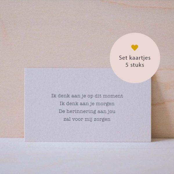 set mini kaartjes gedicht ik denk aan je