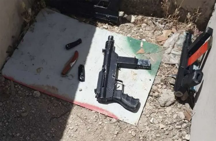 Våpen beslaglagt etter terrorangrep i samaria 07.05.2021 (foto: Grensepolitiets talsperson).