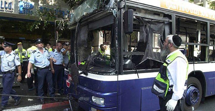 Wikipedia : Illustrativt bilde. Bussbombing i Tel Aviv 2002