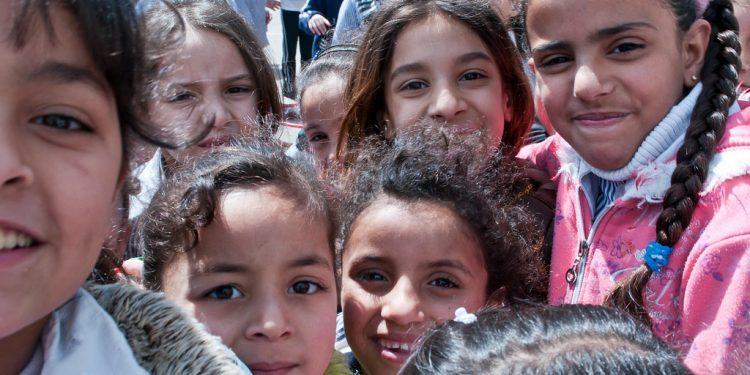Balata Refugee Camp, West Bank town of Nablus, UNRWA School. Foto kredit: Se foto.