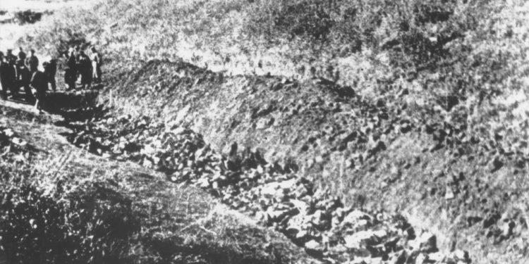 Massegrav fra Babyn Yar-massakren som fant sted i 1941 i Ukraina. Foto: US Holocaust Memorial Museum