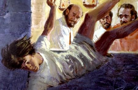 Paulus forkynner hele natten i Troas, helt til en gutt - Eutykus - sovner og faller ut av vinduet (Apostlenes gjerninger 20:9).