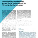 Cover Stellungnahme zum Referentenentwurf für die Modernisierung des Wohnungseigentumsgesetzes