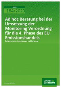 Cover Ad hoc Beratung bei der Umsetzung der Monitoring Verordnung für die 4. Phase des EU Emissionshandels
