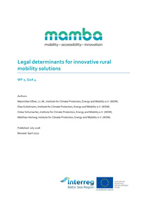 Cover Legal determinants for innovative rural mobility solutions