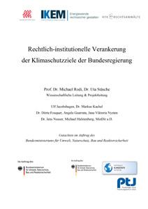 Cover Rechtlich-institutionelle Verankerung der Klimaschutzziele der Bundesregierung