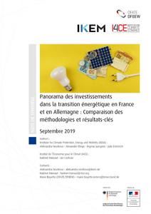 Cover Überblick zu den Investitionsströmen der Energiewende in Deutschland und Frankreich: Vergleich von Methoden und ausgewählte Ergebnisse