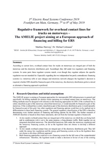 Cover Regulative framework for overhead contact lines for trucks on motorways – The AMELIE project aiming at a European approach of financing and billing for ERS