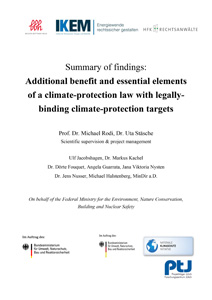Cover Additional benefit and essential elements of a climate-protection law with legally-binding climate-protection targets