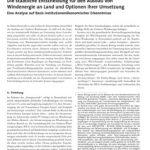Cover Die staatliche Entscheidung für den Ausbau von Windenergie an Land und Optionen ihrer Umsetzung