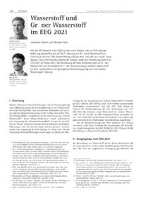 Cover Wasserstoff und Grüner Wasserstoff im EEG 2021