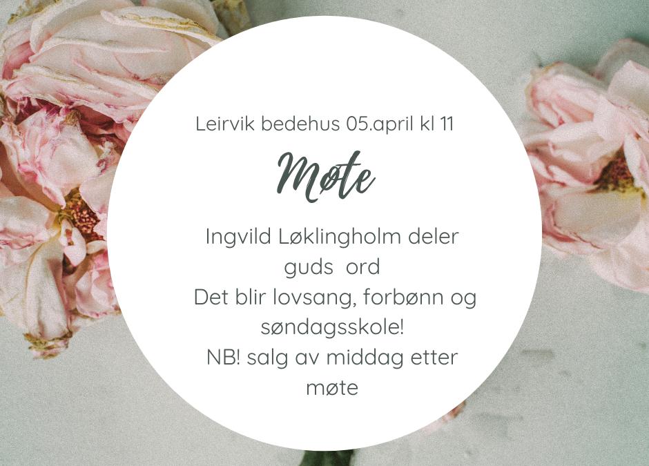 Velkommen til søndagsmøte 5. april