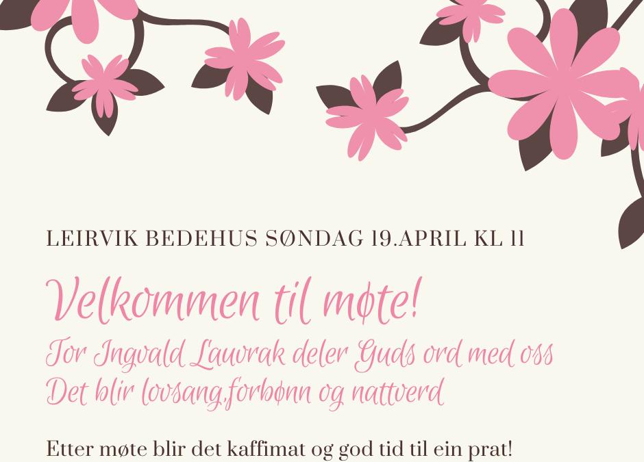 Velkommen til søndagsmøte 19. april