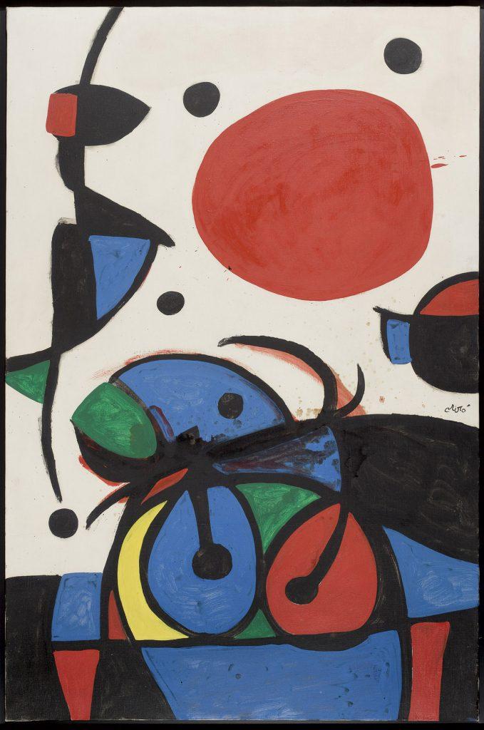 Joan Miró, Personnage et oiseaux devant le soleil, 1976, olio su tela. Foto Gabriel Ramon. Archivo Successió Miró. © Successió Miró : ADAGP, Paris, by SIAE 2021
