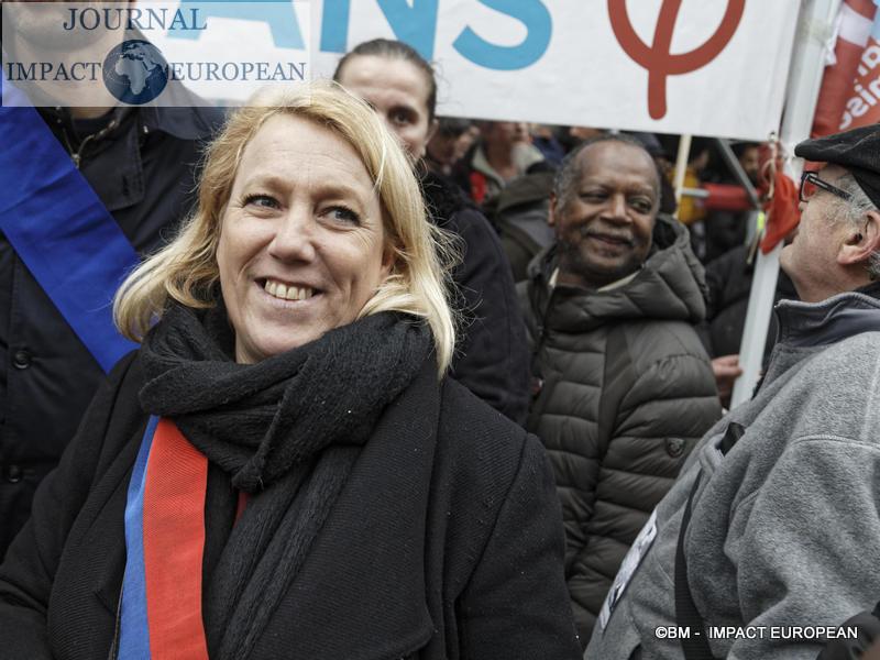 Manif retraite 9 janvier 2020 - La France insoumise (LFI),  Danielle Simonnet / BM - Impact European
