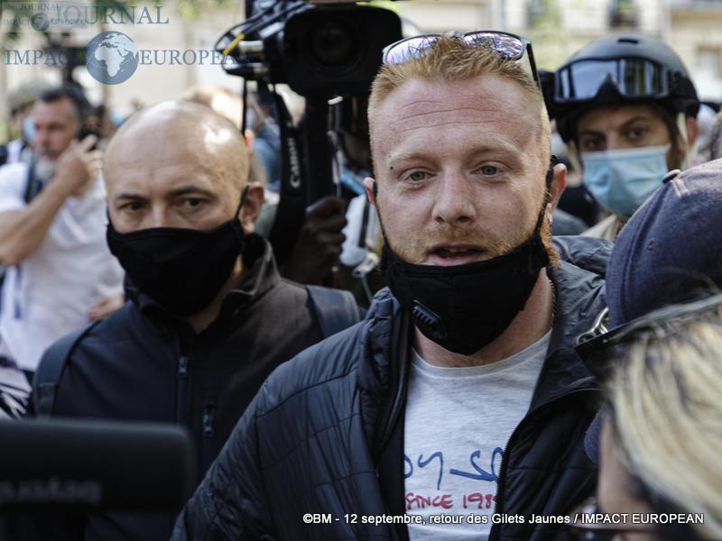 Maxime Nicolle à la manifestation des Gilets Jaunes du 12 septembre 2020 à Paris