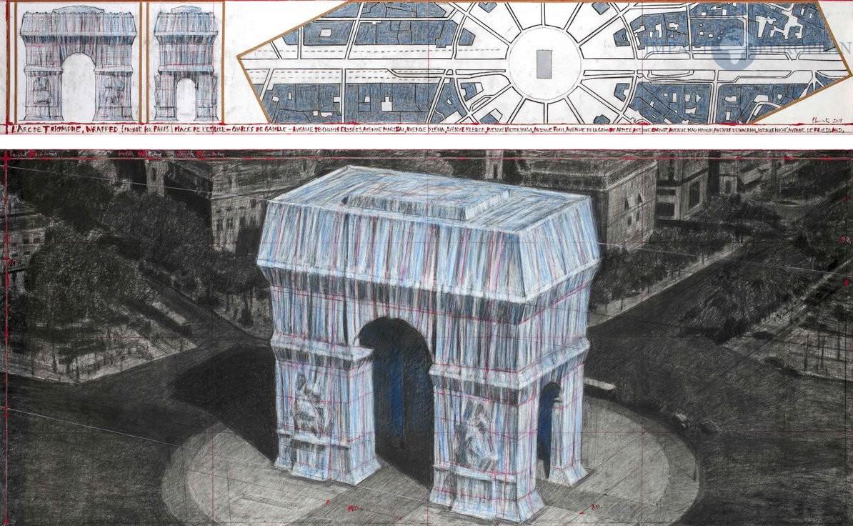 Dans ce dessin préparatoire, on peut voir l'installation telle qu'elle a été imaginée par Christo 1194x736