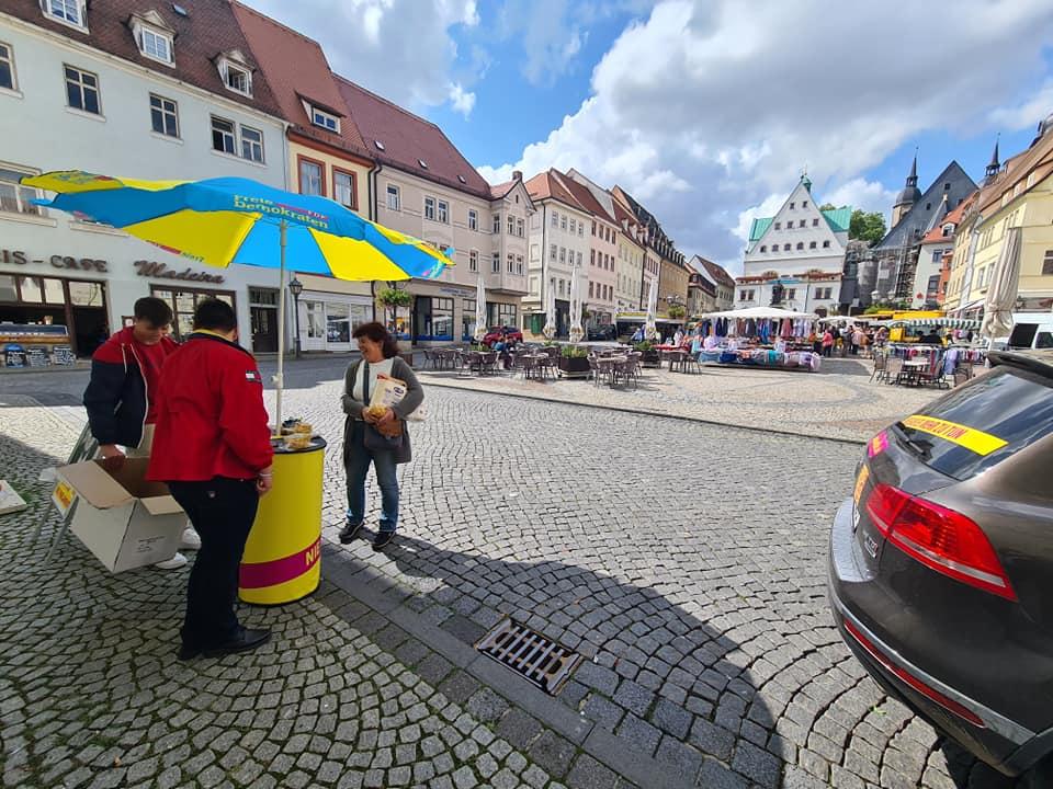FDP Wahlstand in Eisleben