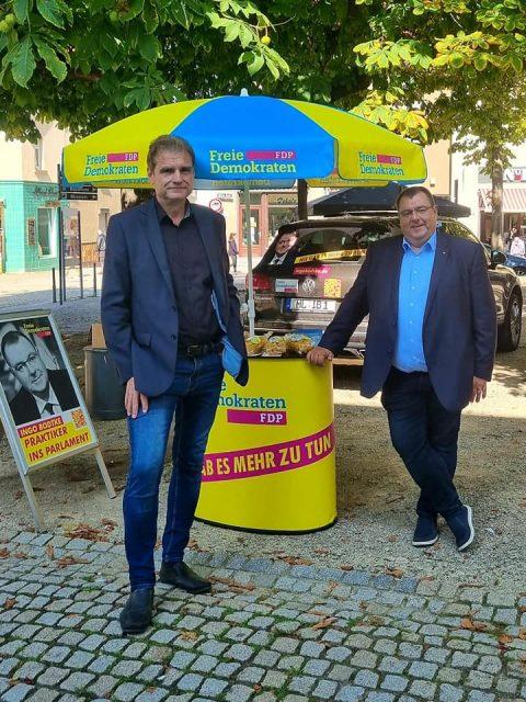 FDP Wahlstand in Sangerhausen