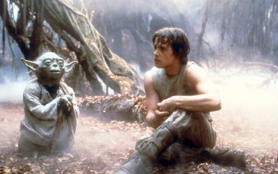 Yoda and Luke Skywalker in The Empire Strikes Back.
