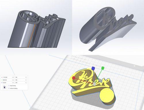3D print logo sign alu look