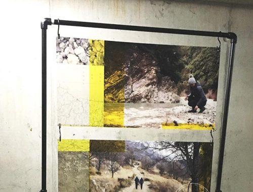 Detail design metal frame display greencast acrylaat