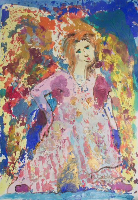 Entrüstete Engeline (2013), Acryl auf Papier (41x29,5cm)