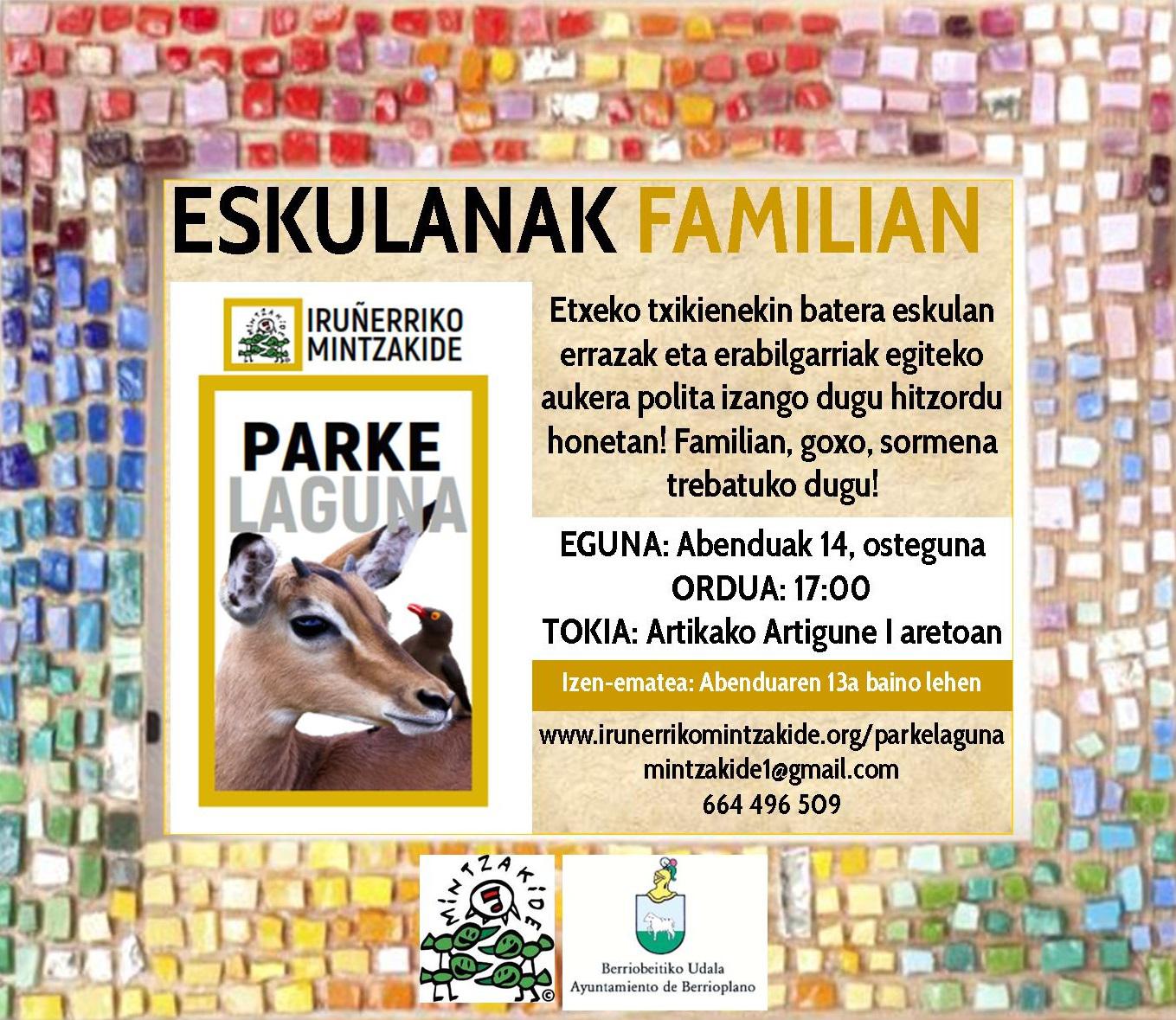 Abenduaren 14ean Eskulanak familian tailerra Parkelagunekin Artikan!