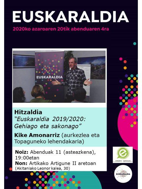 """""""Euskaraldia 2019-2020: Gehiago eta sakonago"""" @ Artikako Artigune II aretoan"""